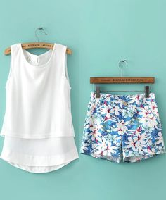 White Sleeveless Chiffon Top With Blue Floral Shorts - Sheinside.com.   Love the shirt, not the shorts!