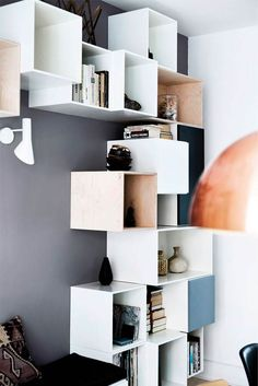 Ikea Eket, Ikea Boxes, Cube Shelves, Cute Room Decor, Modern Shelving, New Home Designs, Small Space Living, New Room, Apartment Living
