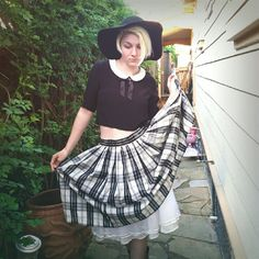 """{just in} Vintage Full Petticoat Plaid Skirt 15.5"""" across waist  28"""" length   Button closure at waist. Petticoat slip beneath. Contents are: skirt 100% polyesyer, lining 100% acetate, netting 100% nylon. Size is marked as a 12. Vintage Skirts"""