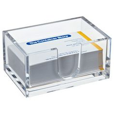 Acrylic desk accessories from Container store or Home Goods Dollar Tree Organization, Office Supply Organization, Desktop Organization, Organization Ideas, Organizing, Clear Business Cards, Business Card Holders, Container Store, Office With A View