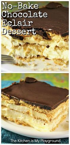 No-bake Chocolate Eclair Icebox Dessert is creamy, delicious, and comforting. And it's ALWAYS a big hit! Mini Desserts, Easy Summer Desserts, Easy No Bake Desserts, Easy Baking Recipes, Best Dessert Recipes, Plated Desserts, Delicious Desserts, Chocolate Eclair Dessert, Chocolate Topping