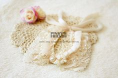 Pretty Milk White Lace & Pearl Pet Collar for Cats/Dogs by PinkysFriends, $23.00
