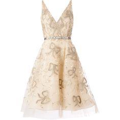 Oscar de la Renta bow embroidered skater dress (€6.860) ❤ liked on Polyvore featuring dresses, vestidos, short dresses, oscar de la renta, embroidered mini dress, pink mini dress, short silk dress, pink skater dresses and mini dress