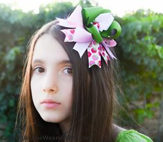 Hair Bows For Girls Apple Green Blush Pink and by SheWearsitWell, $13.50
