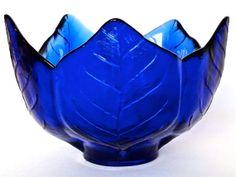 Vintage Cobalt Blue Leaf/Petal Bowl by CarterPaigeVintage on Etsy, $12.99