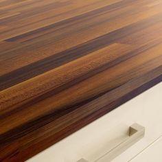 Iroko Block Effect laminate worktop Laminate Kitchen Worktops, Open Plan Kitchen, Kitchen Ideas, Kitchen Collection, Work Tops, Hardwood Floors, Solid Wood, Kitchen Design, New Homes