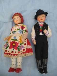 Handmade Polish Hungarian Doll Couple with Embroidered Outfits Wrap Around Braid, Green Dot, Patent Shoes, Doll Stands, Embroidered Clothes, Black Knees, Black Felt, Traditional Art, Harajuku