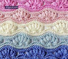 Crochet Ripple Puff Stitch Tutorial - (mypicot)