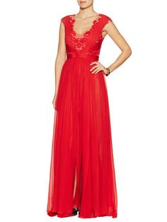 Draped Gown w/ Embroidered Lace Bodice from Gala Glamour: Designer Evening Wear & Gowns on Gilt