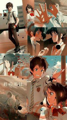 Anime Kimi No Na Wa/ Your Name Wallpaper Lockscreen HD fondo de pantalla Collage Aesthetic Anime Backgrounds Wallpapers, Anime Scenery Wallpaper, Cute Anime Wallpaper, Wallpaper Iphone Cute, Animes Wallpapers, Cute Wallpapers, Wallpaper Lockscreen, Trendy Wallpaper, Wallpaper Quotes