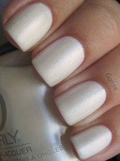 PEARL White nails Matte pearl