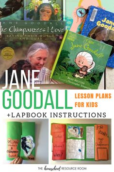 Jane Goodall for kids! Lesson plans with DIY lapbook instructions for a Jane Goodall unit study. Jane Goodall, Kindergarten Lesson Plans, Kindergarten Activities, Stem Activities, Preschool, Homeschool Apps, Homeschooling Resources, Geography For Kids, Unit Studies