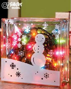 Plaid® Snowman Glass Block #glassblock #craft #christmas