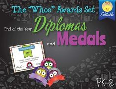"End of the Year Diplomas and Medals Set ""Whoo Awards"""