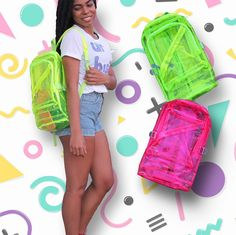 """Hypsy Dazey Co on Instagram: """"Make any #outfit #POP ⚡️ and show off some #goodies in these #90s #retro #inspired #TRANSPARENT / #CLEAR #NEON #ZIPPER #BACKPACKS (#AVAILABLE IN OUR #SHOP IN #PINK AND #LIME)!  LINK'S IN BIO❣ 