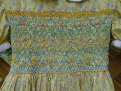 Smocked dress in Laura Ashley lawn: detail (hand smocked by Mary Addison) 20.7.14