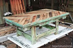 Pallet Wood Coffee Table!! *Check out BeachBumLivin Facebook to WIN!!