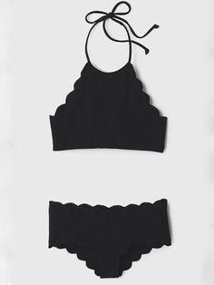 Black Halter Padded Cropped Bikini Set - stayingsummer