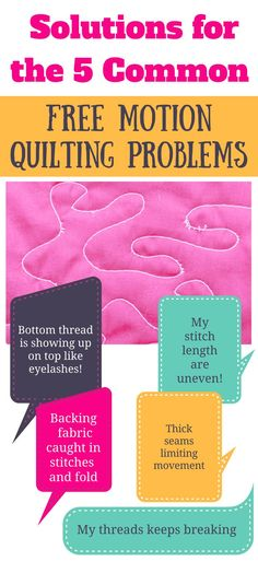 Do you have tension issues, uneven stitch length, folded backing fabric while free motion quilting? Find out the solutions to these common free motion quilting problems right now so you can go ahead and enjoy the most of free motion quilting.