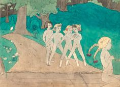 """Henry Darger, one of hundreds of scenes depicting the """"Vivian Girls"""" rebelling against child-enslaving adults. """"A devout Roman Catholic, Henry Darger worked as a janitor in Catholic hospitals by day and gave expression to his private, imaginary world by night from his small rented room on Chicago's north side."""""""