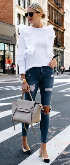 #fall #outfits women's white crew-neck long-sleeve shirt and distressed blue jeans and white-black leather kitten heel sandals