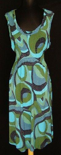 BCBG MAX AZRIA Aqua Green Print Smocked Waist Dress L NEW NWOT Stretch Jersey   $49.99