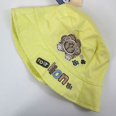 Baby boys #girls lemon yellow #embroidered lion sun bucket hat age #12-18-24 mont,  View more on the LINK: http://www.zeppy.io/product/gb/2/112203145097/