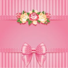 Flower with pink bow card vector 03