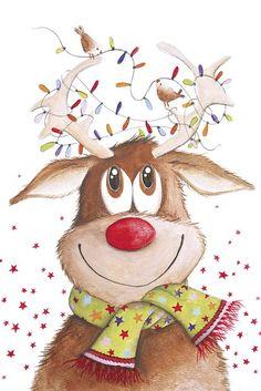 xmas reindeer- A Melis Christmas Scenes, Christmas Pictures, Christmas Art, All Things Christmas, Vintage Christmas, Christmas Holidays, Christmas Decorations, Illustration Noel, Christmas Illustration