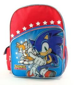 Sonic the Hedgehog 16 Large School Backpack  Speed Team -- For more information, visit image link.