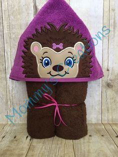 "Hedgehog Girl Applique Hooded Bath, Beach Towel, Cover Up 30"" x 54"" by MommysCraftCreations on Etsy"