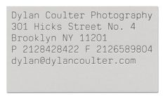 DYLAN COULTER  Identity and stationery for photographer Dylan Coulter.