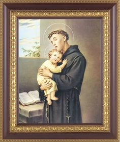 Anthony is one of the Doctor's of the church and in this print he is portrayed wearing a black Franciscan frock holding the baby Jesus. Rosary Catholic, Catholic Art, Divine Mercy Sunday, Divine Mercy Chaplet, Saint Anthony Of Padua, Open Window, Framed Prints, Art Prints, Blessed Mother