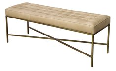 Oly Jonathan Bench with antiqued gold metal legs and cream or soft turquoise upholstery or leather