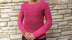 Women's sweater crochet pattern. For more details and written step-by-step instructions visit: http://interunet.com/crochet-raspberry-stich-stripes-long-slee...