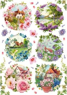Rice Paper for Decoupage Scrapbooking Sheet Craft  Easter Day Village Art W//40