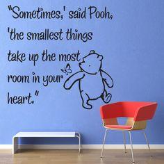 Vinyl Wall Decal Sticker Art - Smallest Things - Medium - Winnie the Pooh wall mural. $22.95, via Etsy.