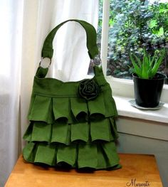 Ruffle Linen Handbag: I love that this bag is made out of linen, and the colour is gorgeous!!!