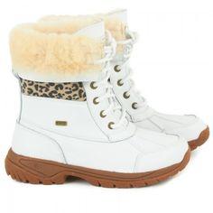 UGG Australia Girls White Leopard Print Boots   AlexandAlexa