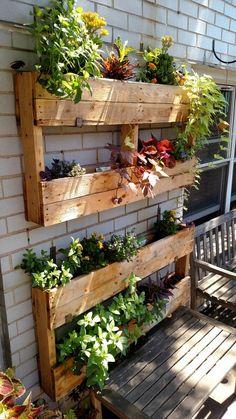 25 creative vertical garden ideas for small backyard 21 Vertical Garden Design, Vertical Gardens, Vertical Pallet Garden, Pallet Garden Walls, Wood Pallet Planters, Herb Garden Pallet, Vertical Planter, Palet Garden, Concrete Planters