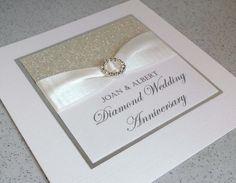 Handmade diamond wedding anniversary card, modern, designer