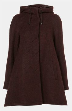 Topshop Wool Blend A-Line Parka available at #Nordstrom