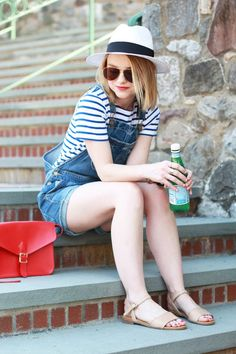 Poor Little It Girl - American Eagle Denim Overalls, D&Y Panama Hat, J.Crew Striped T-shirt, Gap Tan Sandals am I too old for overalls? Spring Summer Fashion, Spring Outfits, Salopette Jeans, Denim Overalls, Dungarees, Denim Jumper, Jumper Shorts, Denim Outfit, Casual Outfits