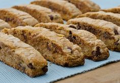 mandel bread, a traditional Jewish cookie, is studded with walnuts and chocolate chips.