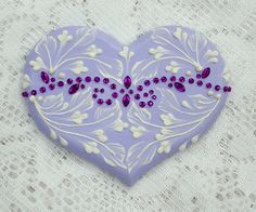 Hand Painted Soft Lavender MUD Scrolls Cookie with Rhinestone Bling 6