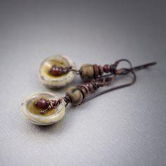 rustic raku earrings • tribal earrings • ceramic charms • honney colors • earthy earrings • rustic picasso glass • artisan • raw coper by entre2et7 on Etsy