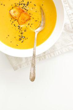 Sweet Potato Soup with Coriander and Blood Orange: show that Polar Vortex who's boss! (gf, vegan)