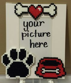 Doggy photo frame made using Hama Beads - would work just as well with needlepoint on plastic canvas...
