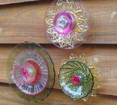 Wall Art / Flowers / Porch Decor / Home Decor / Glass Flower Art / Repurposed Dishes / Glass Art. $45.00, via Etsy.