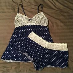 Matching PJ Set Super soft and cute polka dotted pj set! The shorts are very short, and the lace on the top is lined, so can't really see through. These are in great condition, just a little too tight on me. Pretty Lingerie, Beautiful Lingerie, Sexy Lingerie, Cute Pjs, Cute Pajamas, Pajama Outfits, Cute Outfits, Lingerie Sleepwear, Nightwear